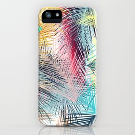 Jungle pampa colorful forest. Tropical fresh forest pattern with palms iPhone Case