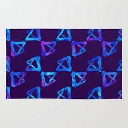 Blue brush watercolor cool print Rug