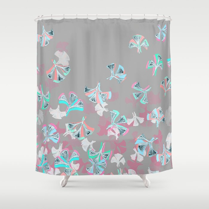 Flight Abstract In Pink Grey White Aqua Shower Curtain By