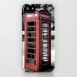 old English phone booth in colorkey iPhone Case