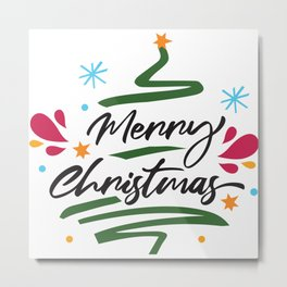 Merry Christmas Tree Modern Decorative Script Metal Print