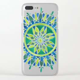 Watercolor Mandala – Green Clear iPhone Case