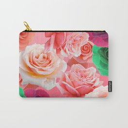 Multi Colored Roses - Green Pink Dark Red Carry-All Pouch
