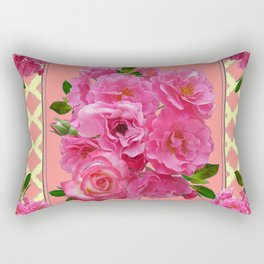 VINTAGE STYLE PINK ROSES PATTERN GREY ART Rectangular Pillow