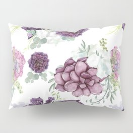 Succulents Deep Violet Lavender Pastel Green Lilac PatternSee Nature Magick for more pretty pastel c Pillow Sham