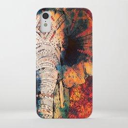 Indian Sketched Elephant Red Orange iPhone Case
