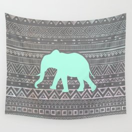 Mint Elephant  Wall Tapestry
