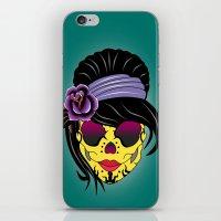 sugar skull iPhone & iPod Skins featuring SUGAR SKULL by mark ashkenazi