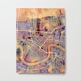 New Orleans City Street Map Metal Print