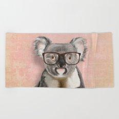 Funny koala with glasses Beach Towel