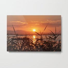 Sunset in the Albufera, Valencia, Spain Metal Print