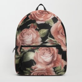 Classic Pink Roses On Black Backpack