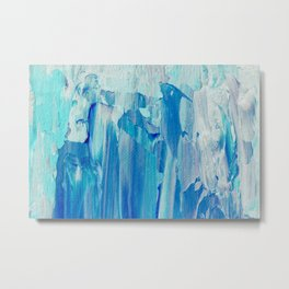 Abstract Blue Acrylic Painting With Brush Strokes Metal Print