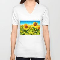 sunflowers V-neck T-shirts featuring sunflowers by KrisLeov