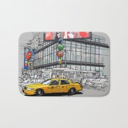 A corner in New York city and a yellow cab Bath Mat