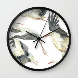 Storks Flying Away, The Last Day of Summer, Flock of Birds Wall Clock