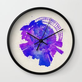 Sydney, Australia Colorful Skyround / Skyline Watercolor Painting Wall Clock