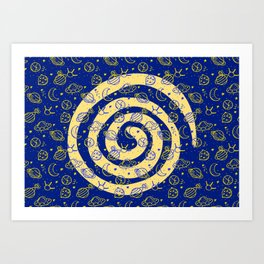 Blue and Yellow Space Swirl with Flying Saucers and Stars Art Print