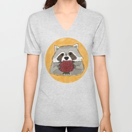 Strawberry Racoon Unisex V-Neck