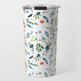 Watercolor navy blue orange botanical floral Travel Mug