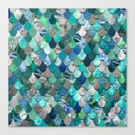Mermaid Pattern, Sea,Teal, Mint, Aqua, Blue Canvas Print