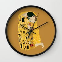 gustav klimt Wall Clocks featuring klimt by Live It Up