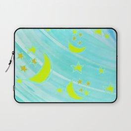 Aqua Nights with Moon and Stars Laptop Sleeve