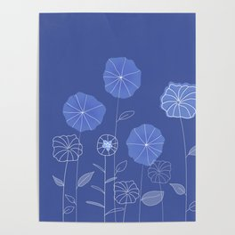 soft blue flowers Poster