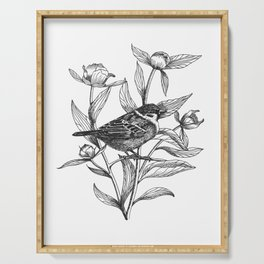 sparrow on peonies Serving Tray