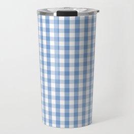 Classic Pale Blue Pastel Gingham Check Travel Mug