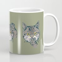 evil Mugs featuring No Evil Cat by Huebucket