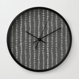 Vines in Charcoal Gray - Leaves, Botanical Neutral Decor Wall Clock