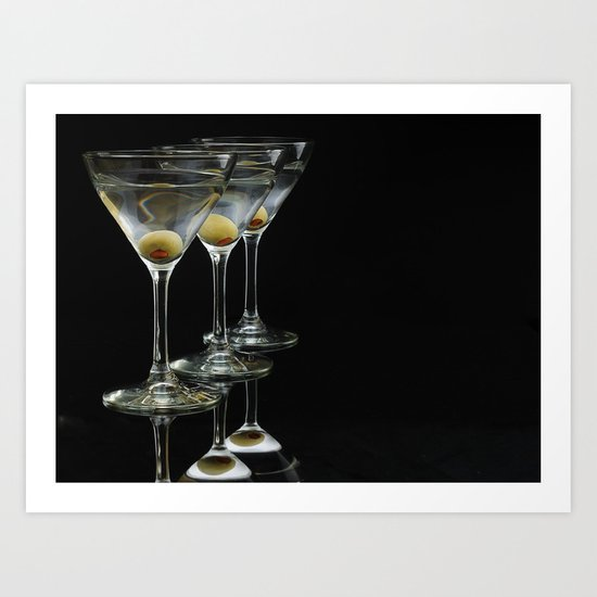Three Martini's and three olives.  Art Print