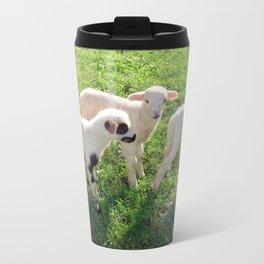 Three Cute Spring Lambs Travel Mug