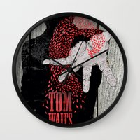 tom waits Wall Clocks featuring Tom Waits by J.C.D