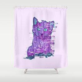 Glitchy Kitty Shower Curtain