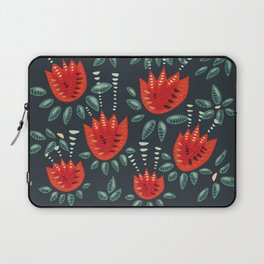 Abstract Red Tulip Floral Pattern Laptop Sleeve