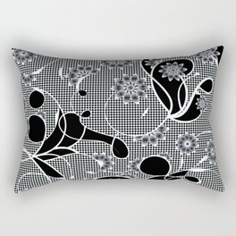 Black and White Floral Absract Rectangular Pillow
