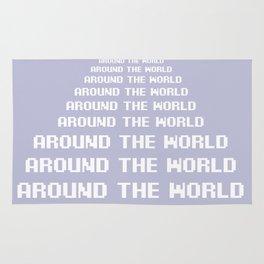 around the world plum art print. Rug
