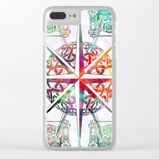 Travellers Spirit Colourful Celtic Compass Design Clear iPhone Case