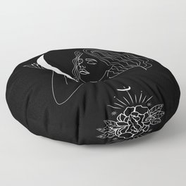 Modern minimalist female line drawing, woman holding crescent, mythology and mystical illustration Floor Pillow