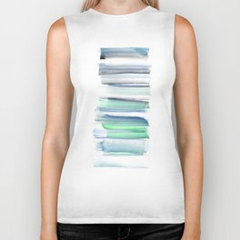 Frozen Summer Series 156 | Watercolor Simple Pattern Blue Shades Vertical Biker Tank