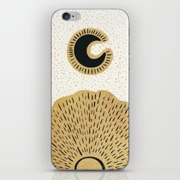Sun and Moon Relationship // Cosmic Rays of Black with Gold Speckle Stars Cool Minimal Digital Drawn iPhone Skin