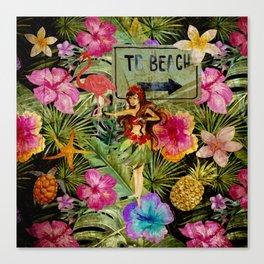 Tropical Vintage Exotic Jungle Beach Party Canvas Print