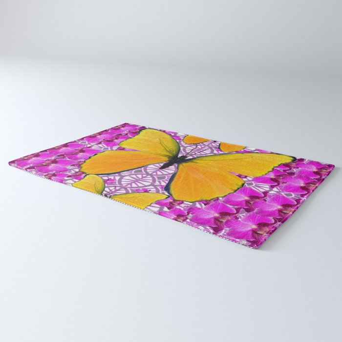 FUCHSIA COLORED  ORCHIDS &  YELLOW  BUTTERFLY FLORAL Rug