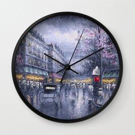 City of Lights, Eiffel Tower, Twilight Paris, France Street Scene landscape painting Wall Clock