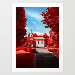 Small church in infrared photography Art Print