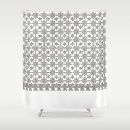 Vintage White Crochet Square Lace Pattern Shower Curtain