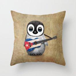 Baby Penguin Playing Cuban Flag Guitar Throw Pillow