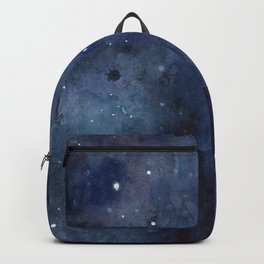 Galaxy Nebula Watercolor Night Sky Stars Outer Space Blue Texture Backpack